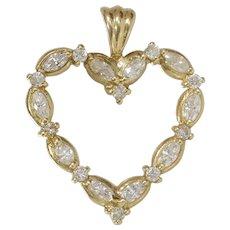 Diamond Heart Pendant   14K Yellow Gold   Vintage Round Marquise Cut