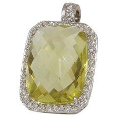 Yellow Topaz Diamond Pendant | 18K White Gold | Vintage Rectangle USA
