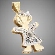 Girl Charm Pendant | 14K Yellow White Gold | Vintage Cubic Zirconia CZ
