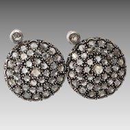 Victorian Diamond Earrings | 14K Yellow Gold Silver | Russian Antique