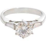 Vintage Diamond Engagement Ring | Platinum Brilliant Cut | Three Stone