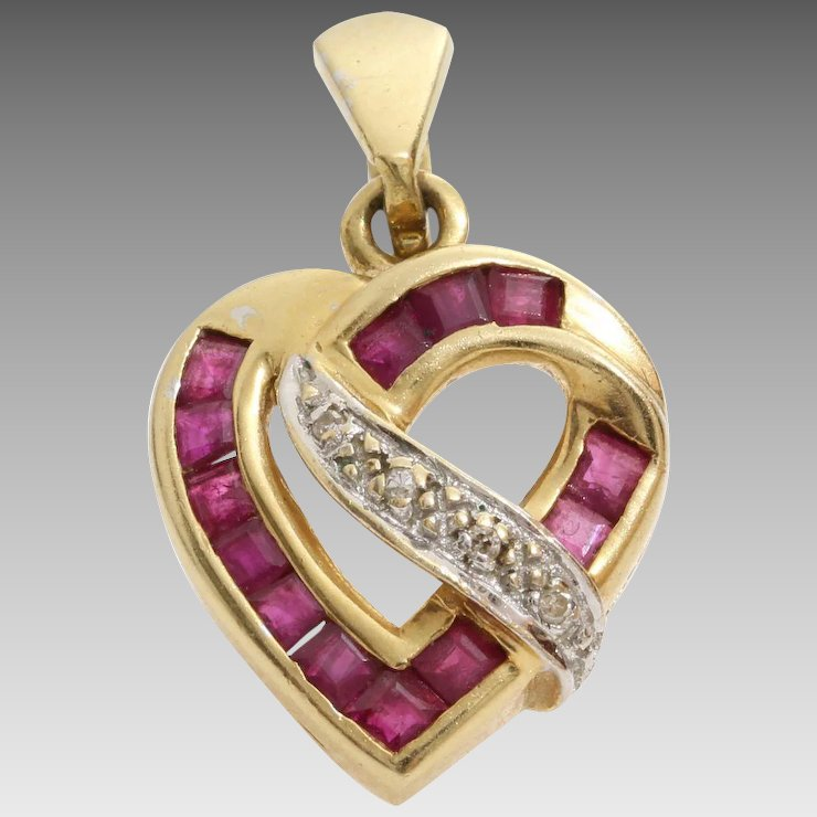 Diamond ruby heart pendant 14k yellow white gold vintage bicolor diamond ruby heart pendant 14k yellow white gold vintage bicolor aloadofball Image collections