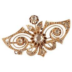 Victorian Diamond Brooch | 14K Yellow Gold | Antique Pin Rose Cut