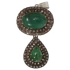 Victorian Emerald Diamond Pendant | 15K Gold Silver | Antique Cabochon