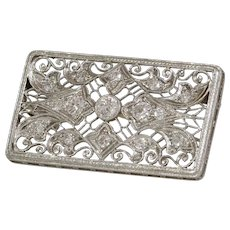 Art Deco Diamond Pendant Brooch   Platinum Pin   Vintage Round Cut