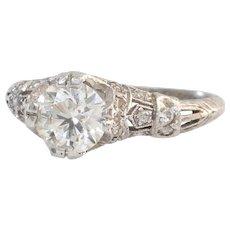 Art Nouveau Diamond Engagement Ring | Platinum Vintage | Cocktail