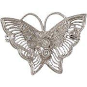 Art Deco Butterfly Brooch   14K White Gold Diamond   Pin Vintage