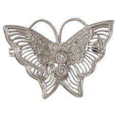 Art Deco Butterfly Brooch | 14K White Gold Diamond | Pin Vintage