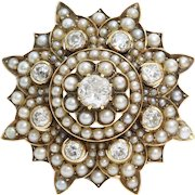 Victorian Diamond Brooch Pendant | 9K Gold Pearl | Antique Pin Star