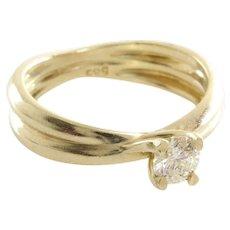 Diamond Engagement Ring   14K Yellow Gold   Round Brilliant Vintage