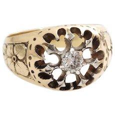 Russian Mens Diamond Ring | 14K Yellow Gold Silver | Antique Art Nouveau