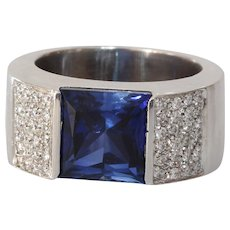 Sapphire Diamond Mens Ring | 18K White Gold | Vintage Blue Gents
