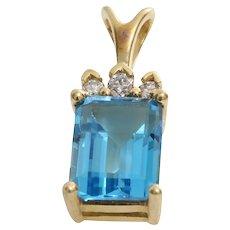 Blue Topaz Diamond Pendant   14K Yellow Gold   Vintage Rectangle Israel