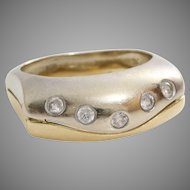 Cubic Zirconia Cocktail Ring | 14K Bicolor Gold | Vintage Yellow White