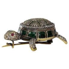 Victorian Russian Tortoise Brooch | 18K Gold Diamond | Antique Turtle