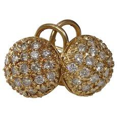 Diamond Gold Ball Earrings | 14K Yellow Round | Vintage Omega Back