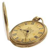 Antique Gold Pocket Watch | 18K Open Face | Key Wind Roman Numerals