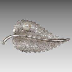 White Gold Leaf Brooch   14K Cultured Pearl   Vintage Pin Israel