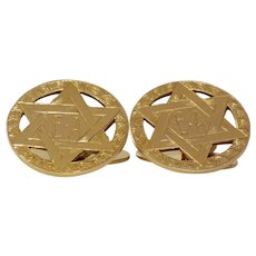 Magen David Gold Cufflinks | 9K Yellow Gold | Vintage Star Judaica