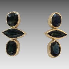 Sapphire Drop Earrings   18K Yellow Gold   Vintage Dangle Italy
