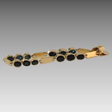 Sapphire Gold Link Bracelet   18K Yellow Vintage   Blue Oval Italy