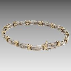 Diamond Gold Bracelet   10K Bicolor Link   Vintage Tennis Eternity X