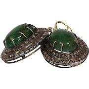Victorian Emerald Diamond Earrings | 15K Gold Silver | Cabochon Antique