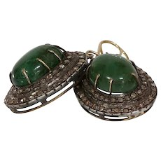 Victorian Emerald Diamond Earrings | 15K Gold Silver | Cabochon Antique