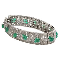 Edwardian Emerald Diamond Bracelet | Platinum Antique French | Carved
