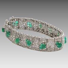 Edwardian Emerald Diamond Bracelet   Platinum Antique French   Carved
