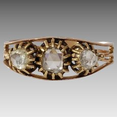 Georgian Three Stone Diamond Ring   18K Rose Gold   Antique Victorian