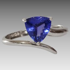 Tanzanite Engagement Ring   14K White Gold   Vintage Trilliant Cut