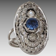 Art Deco Sapphire Diamond Ring   14K Gold Cocktail   Vintage Engagement
