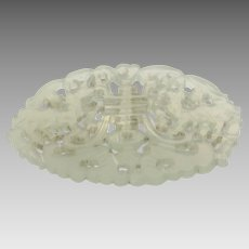 Antique Jade Goat Pendant   Qing Dynasty China   Celadon Nephrite Sheep