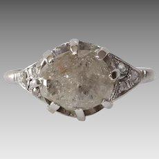Uncut Diamond Engagement Ring   Platinum Cabochon Cut   Art Deco Rough