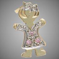 Girl Pendant Charm | 14K Yellow White Gold | Vintage Cubic Zirconia CZ