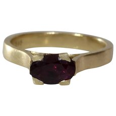 Purple Garnet Ring   14K Yellow Gold   Oval Solitaire Vintage Cocktail