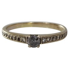 Gray Diamond Engagement Ring | 18K Yellow Gold | Round Brilliant Vintage