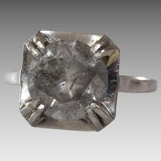 Fancy Gray Diamond Ring | Platinum Engagement | Art Deco Solitaire Grey