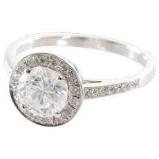 Halo Diamond Engagement Ring   14K White Gold   Vintage Brilliant 1.5Ct