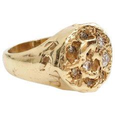Retro Mens Diamond Ring | 14K Yellow Gold | Vintage Round Cut Gents