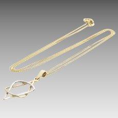 Magen David Pendant Necklace | 14K Yellow Gold | Vintage Chain Bicolor