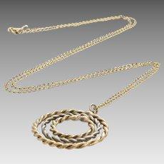 Retro Pendant Necklace | 9K Yellow White Gold | Vintage Bicolor Chain