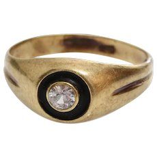 Art Deco Zircon Ring | 14K Gold Black Lacquer | Vintage Engagement