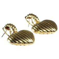 Heart Drop Earrings   18K Yellow Gold   Vintage Dangle Omega Back