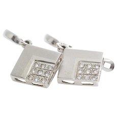 Cubic Zirconia Drop Earrings | 14K White Gold | Vintage Dangle Israel