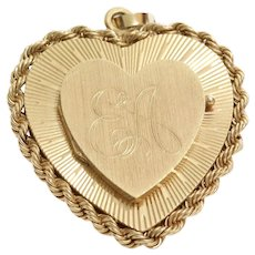 Gold Heart Locket Pendant | 14K Yellow Retro | Vintage USA Initial