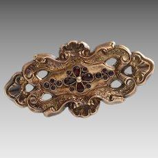 Victorian Garnet Gold Brooch | 9K Yellow Pin | Antique England Red 9Ct