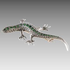 Victorian Lizard Brooch | Diamond Demantoid Gold | Ruby Antique Russia