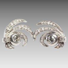 Art Deco Diamond Earrings | 14K White Gold Drop | Victorian Vintage